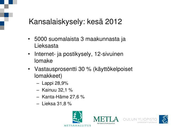 Kansalaiskysely: kesä 2012