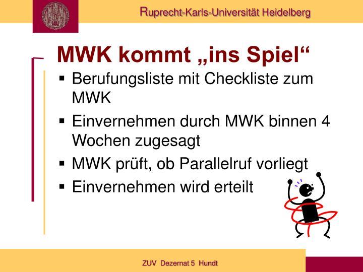 """MWK kommt """"ins Spiel"""""""
