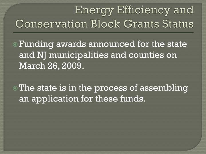 Energy Efficiency and Conservation Block Grants Status