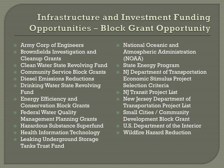 Infrastructure and Investment Funding Opportunities – Block Grant Opportunity