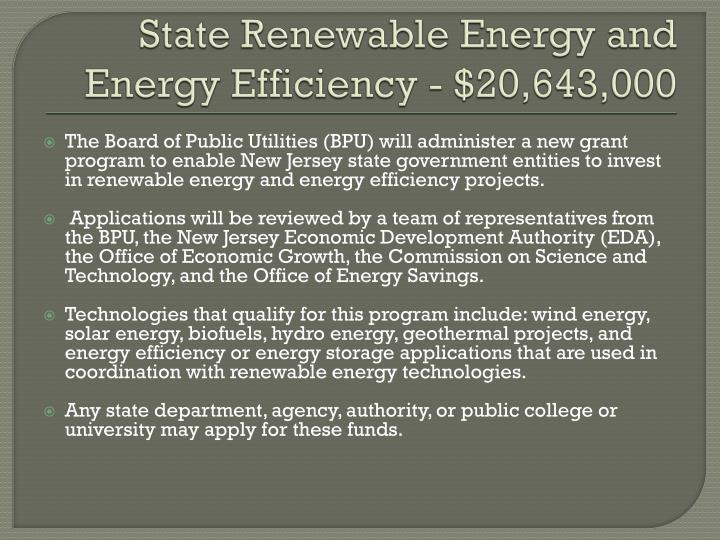 State Renewable Energy and Energy Efficiency - $20,643,000