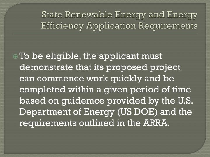 State Renewable Energy and Energy Efficiency Application Requirements