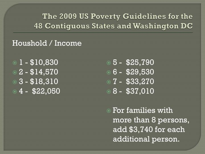 The 2009 US Poverty Guidelines for the