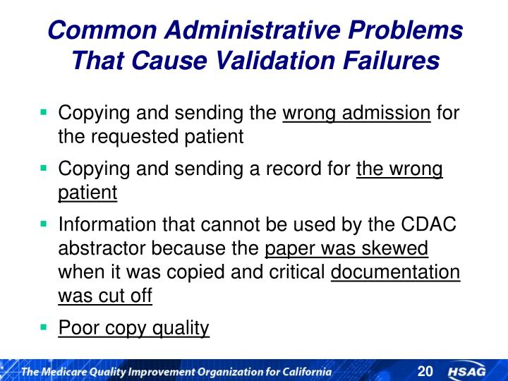 Common Administrative Problems That Cause Validation Failures