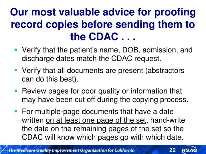 Our most valuable advice for proofing record copies before sending them to the CDAC . . .