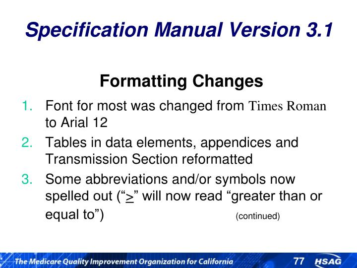 Specification Manual Version 3.1