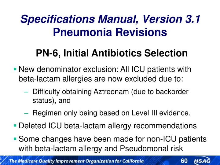 PN-6, Initial Antibiotics Selection