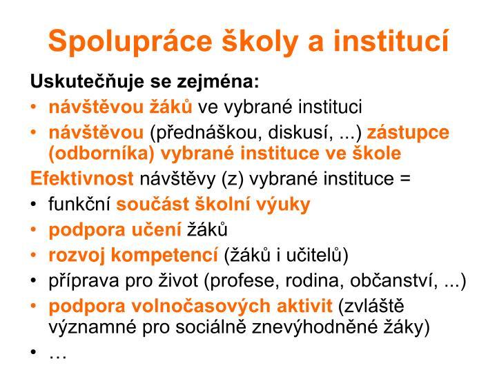 Spolupráce školy a institucí