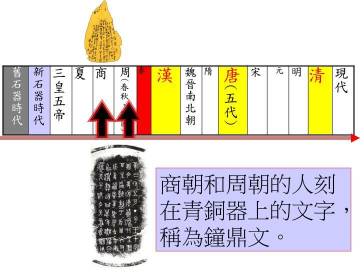 商朝和周朝的人刻在青銅器上的文字,稱為鐘鼎文。