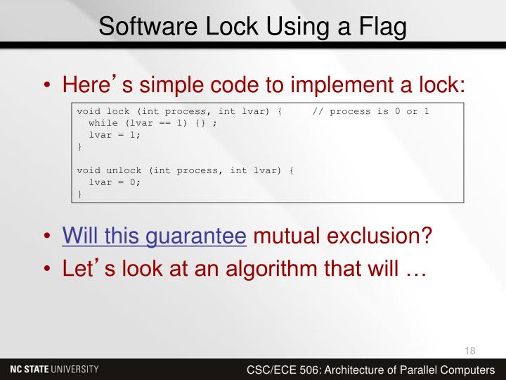Software Lock Using a Flag
