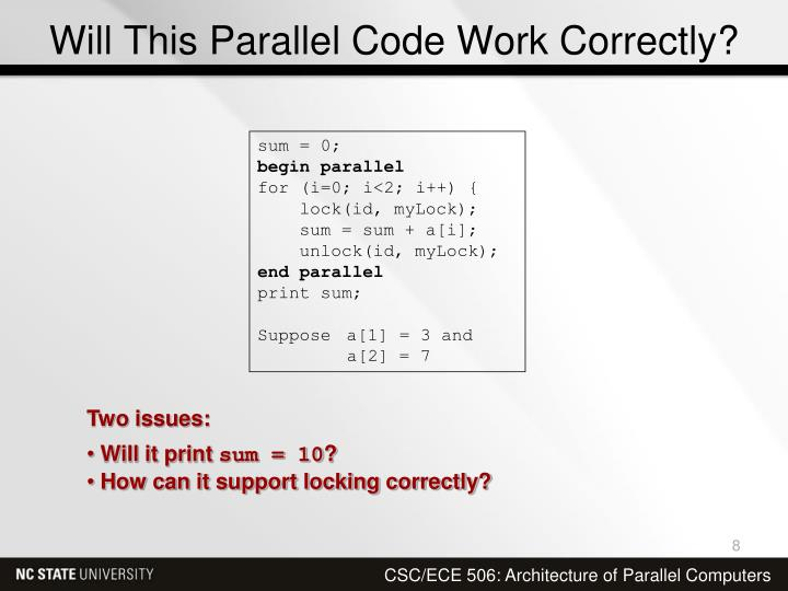 Will This Parallel Code Work Correctly?