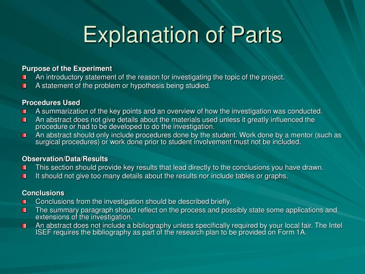 Explanation of Parts