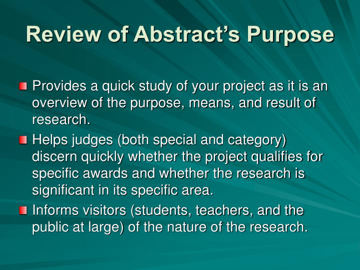 Review of Abstract's Purpose