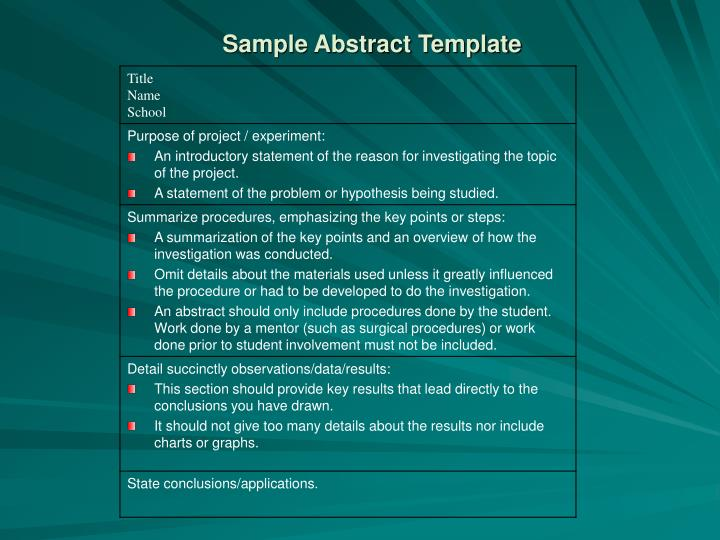 Sample Abstract Template