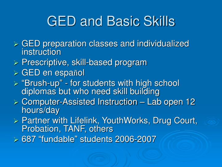 GED and Basic Skills