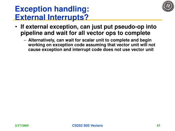Exception handling: