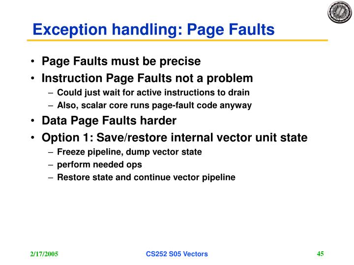 Exception handling: Page Faults