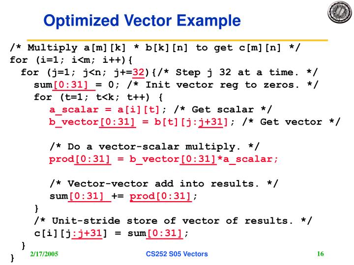 Optimized Vector Example