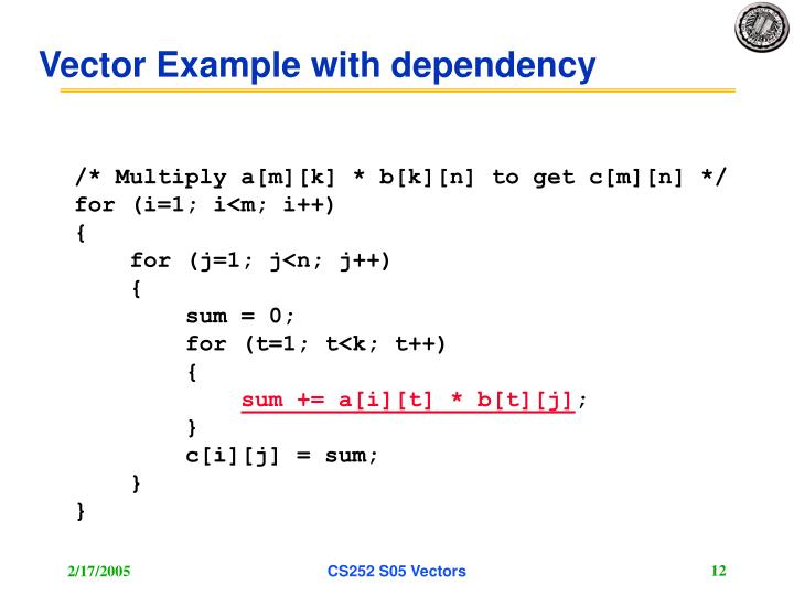 Vector Example with dependency
