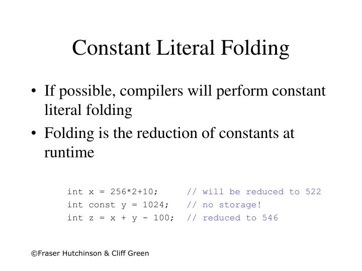 Constant Literal Folding