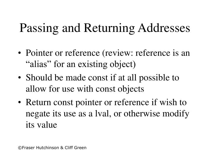 Passing and Returning Addresses