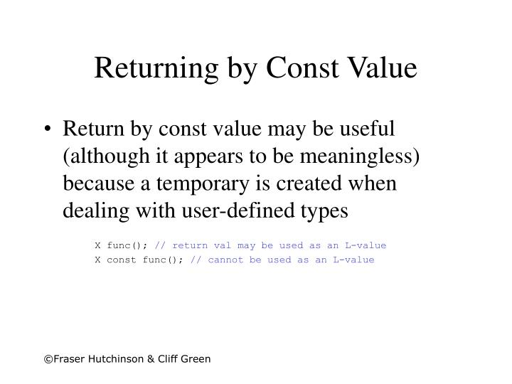 Returning by Const Value