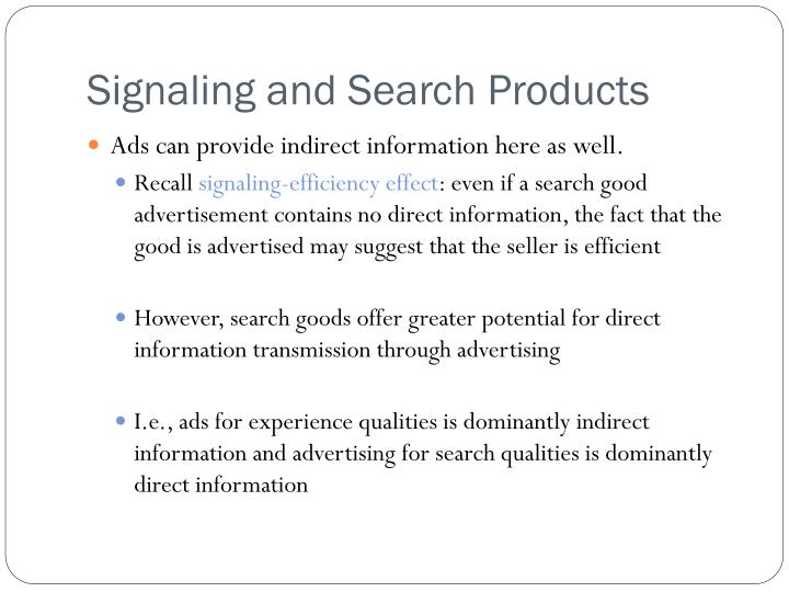 Signaling and Search Products