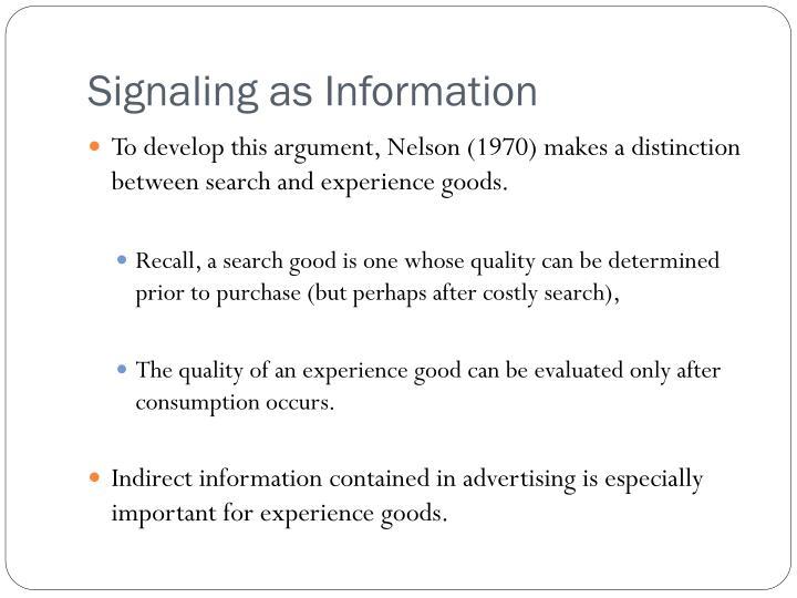 Signaling as Information