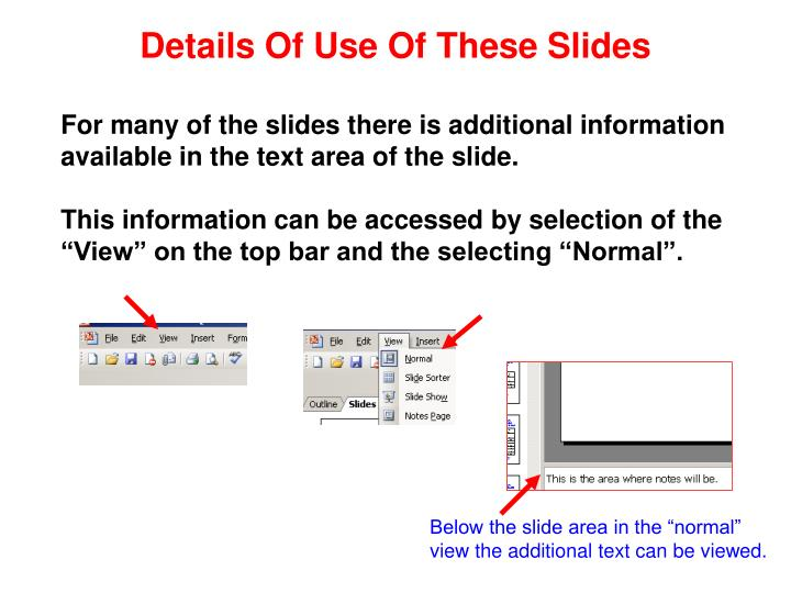 Details Of Use Of These Slides