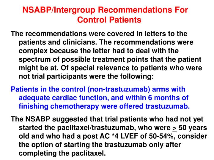 NSABP/Intergroup Recommendations For Control Patients