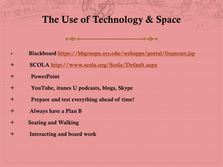 The Use of Technology & Space