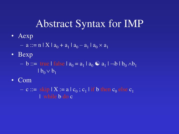 Abstract Syntax for IMP