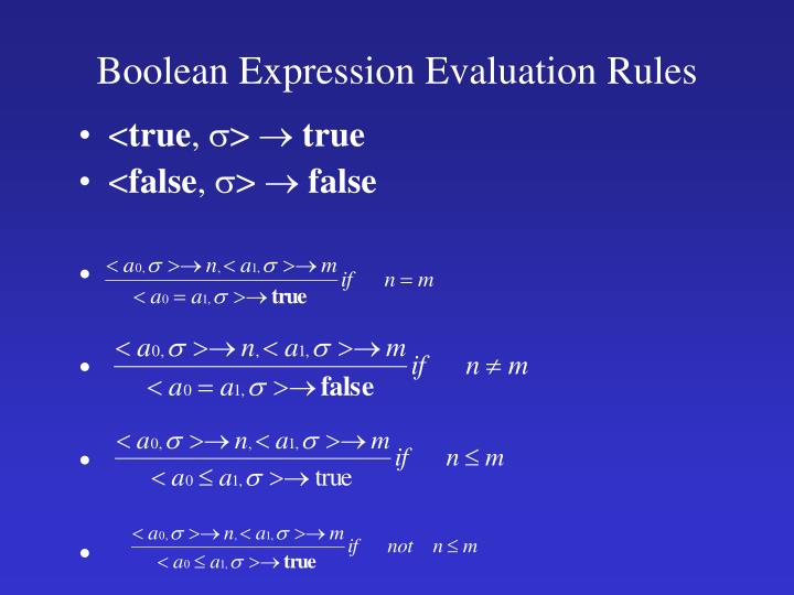 Boolean Expression Evaluation Rules
