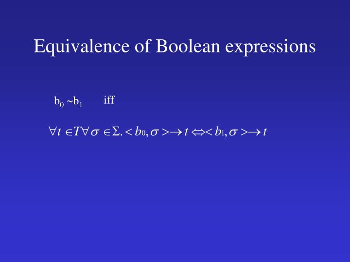 Equivalence of Boolean expressions