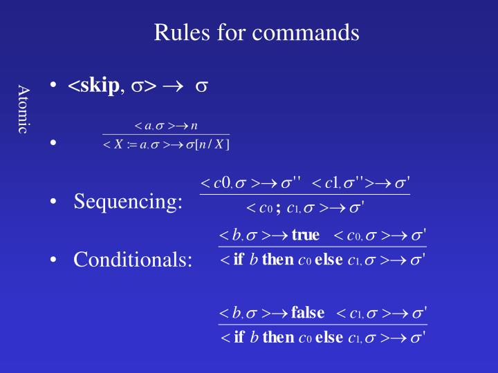 Rules for commands