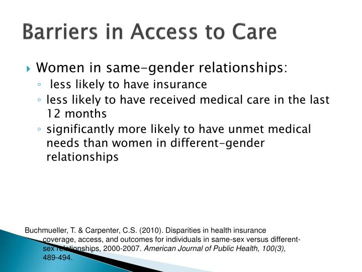 Barriers in Access to Care