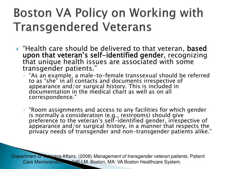 Boston VA Policy on Working with Transgendered Veterans
