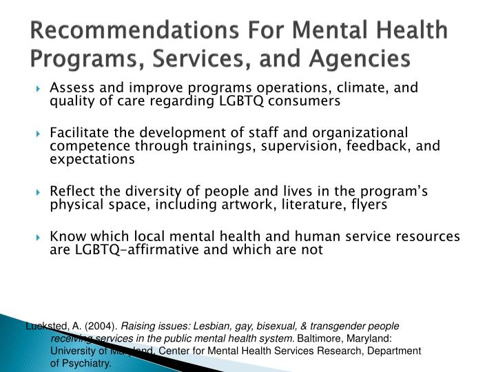 Recommendations For Mental Health Programs, Services, and Agencies