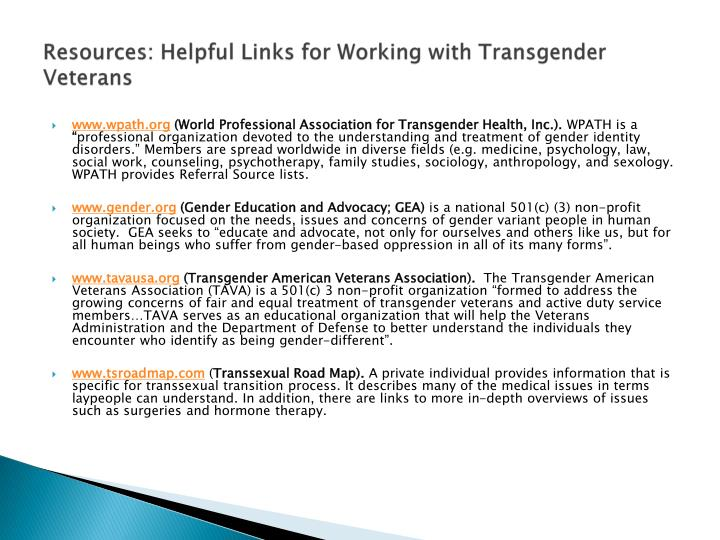 Resources: Helpful Links for Working with Transgender Veterans