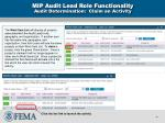 mip audit lead role functionality audit determination claim an activity