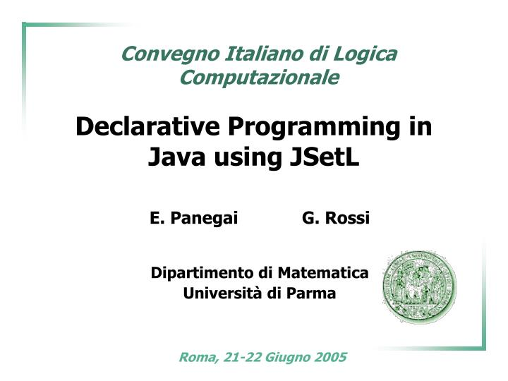 declarative programming in java using jsetl n.