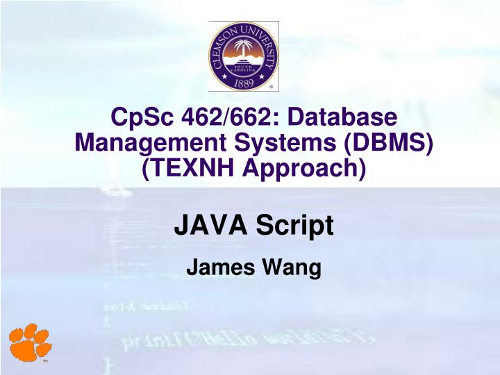Cpsc 462 662 database management systems dbms texnh approach