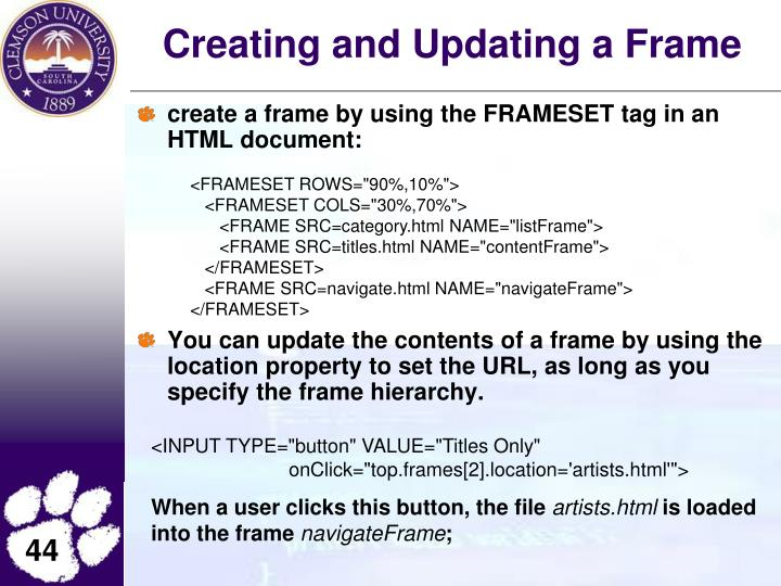 Creating and Updating a Frame