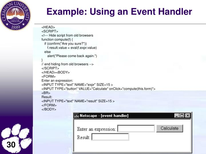 Example: Using an Event Handler