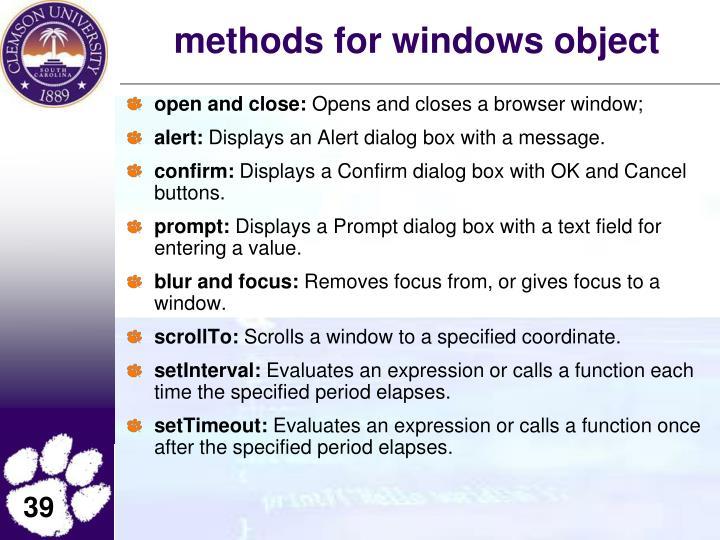methods for windows object