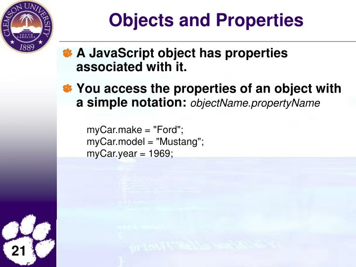 Objects and Properties