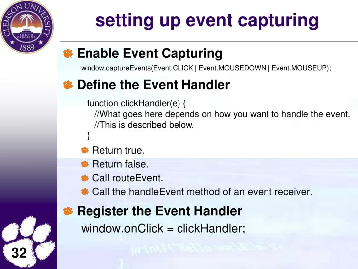 setting up event capturing