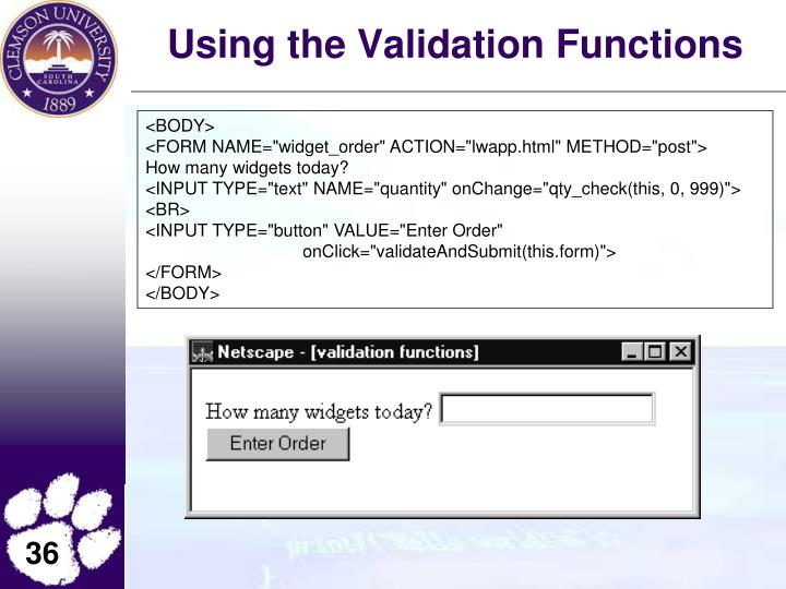 Using the Validation Functions