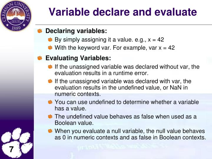 Variable declare and evaluate