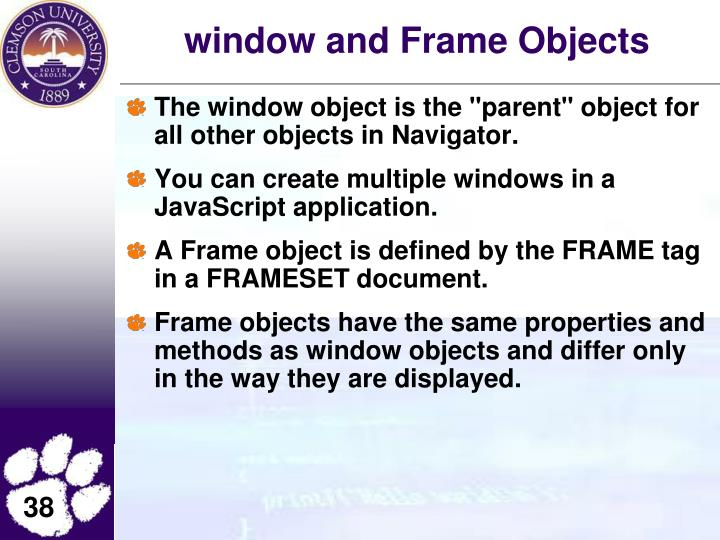 window and Frame Objects